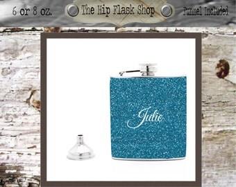 Glitter Name / Monogram Flask  21st Birthday Gift Bridal Party Groomsman Bridesmaid Liquor Flask Funnel Custom