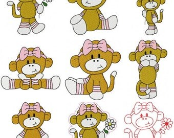 28 Baby Girl Set #2 Sock Monkey Machine Embroidery Design Files 4x4 & 5x7