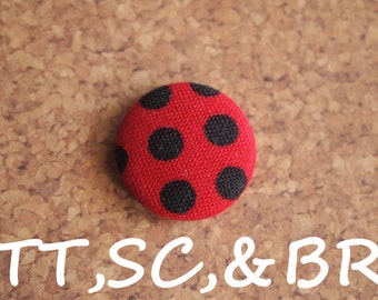 Red and black polka dot  fabric covered buttons (Tie Tacks, Shoe Clips, Brooch)