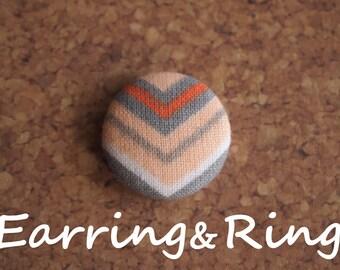 Orange and Gray chevron fabric covered button earrings, fabric covered button clip on earrings, fabric covered button ring