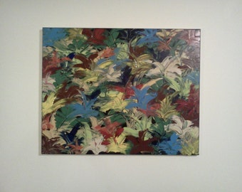 Original 24 x 30 Acrylic Abstract Painting Into The Jungle