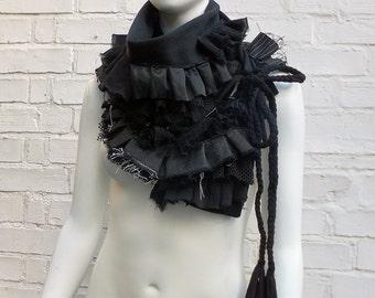Black mixed fabric ruffle (frill) scarf