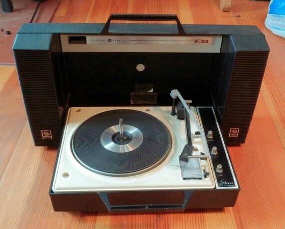 Ge Wildcat 1960 S Portable Turntable Black Vinyl Record