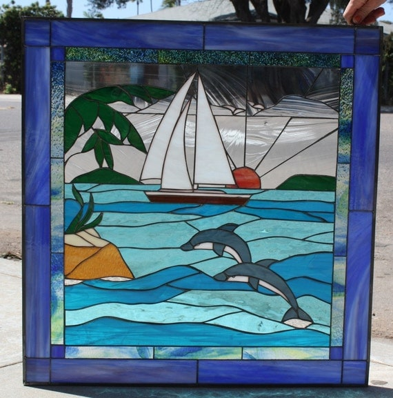 Dolphins Amp Sailboat Stained Glass Window Panel By