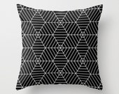 Black and White Hexagon Spider Web Pillow Cover, halloween pillow, fall decor, geometric pillow