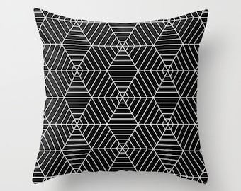 Black and White Hexagon Spider Web Pillow Cover, halloween pillow cover, fall decor, geometric pillow cover