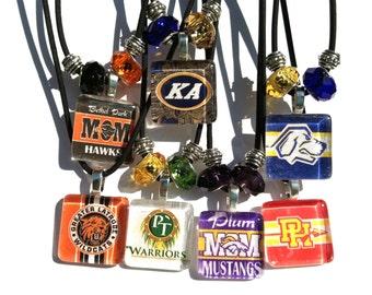 Glass Tile Pendant Necklaces