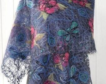 Blue shawl   Handmade shawl openwork shawl  for women