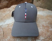 Men's Stretch Fit Golf Hat Charcoal with Embroidered USA Flag Tee Design | Great Golf Gift Idea