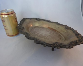 Vintage Silver Plate Footed Dish Shabby