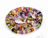 1 strand/220 Pieces (Approx) 4mm Multi Stones Faceted Rondelle Beads, 18 inches, Multi Natural Gemstone Beads