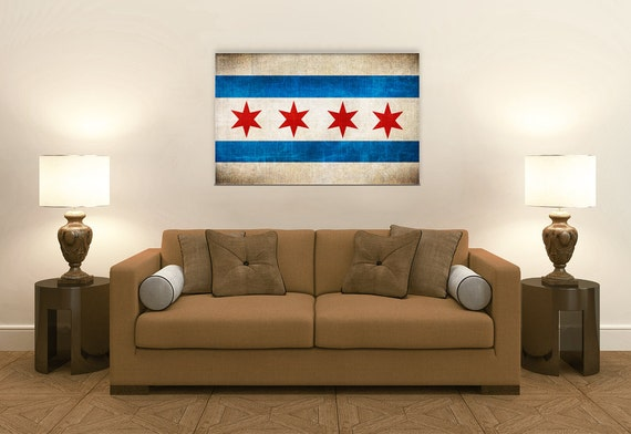 Vintage Chicago Flag Room Decor Gift Ideas Fine Art Canvas