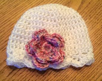 Crochet Newborn Hat - White with Pink Flower - Newborn Hat - Photo Prop