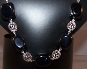 Blue Goldstone Necklace, Women's Anniversary Gifts, Available Jewelry Set with Earrings