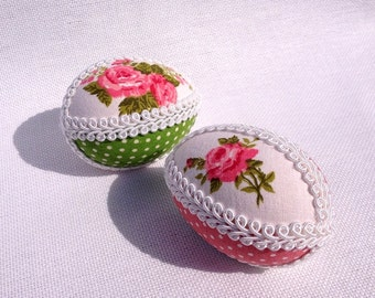 2 Easter egg with cotton and ribbon, pysanka