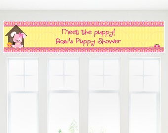 Pink Girl Puppy Party Banner - Custom Dog Party Decorations