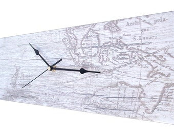 CLC 45cm Landscape ATLAS Wood-Look Wall Clock - WHITE