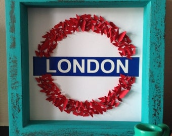 London Underground Sign 3D With Butterflies in a rustic-style frame Housewarming Personalised