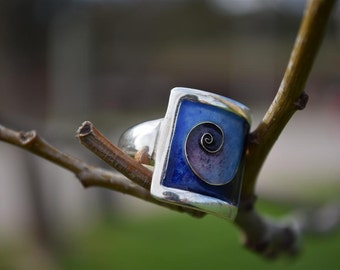 Swirl Ring, Spiral Ring, Silver Ring, Cloisonne Ring, Enamel Ring, Summer Ring, Blue Ring, Giampouras Collections