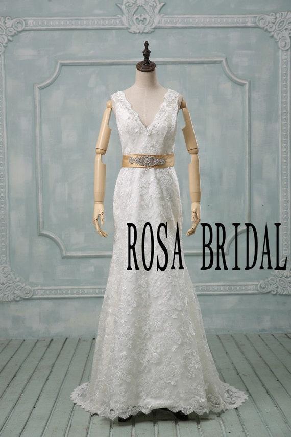 lace wedding dress ivory v neck ivory bridal dress by