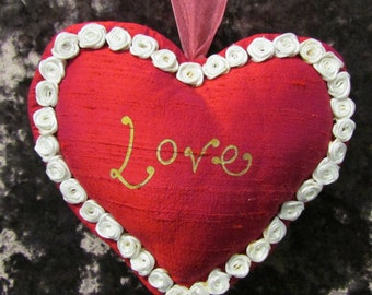 Love Heart in hot pink silk trimmed with rose buds handmade lavender filled heart