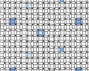 Park Drive- 6273-1 Two Tone Blue Circles in Continuous Curves on Black and White - Henry Glass- 1 Yard