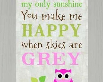 """You Are My Sunshine Pink Owl Framed Picture 10x16"""""""