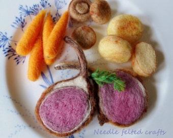 Needle felted Rack of lamb dinner set handmade OOAK