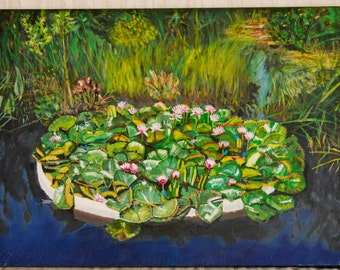 Water lilies on canvas, oilpainting
