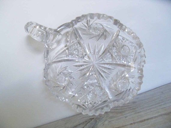 Vintage Cut Glass Candy Dish American Brilliant Crystal Bowl Footed Glass Nappy Hobstar Pinwheel Star of David Saw-tooth Scalloped Edge 1950