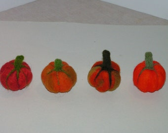 Primitive Needle Felted Pumpkins Soft Sculpture Orange Green Halloween Fall Gift Miniature