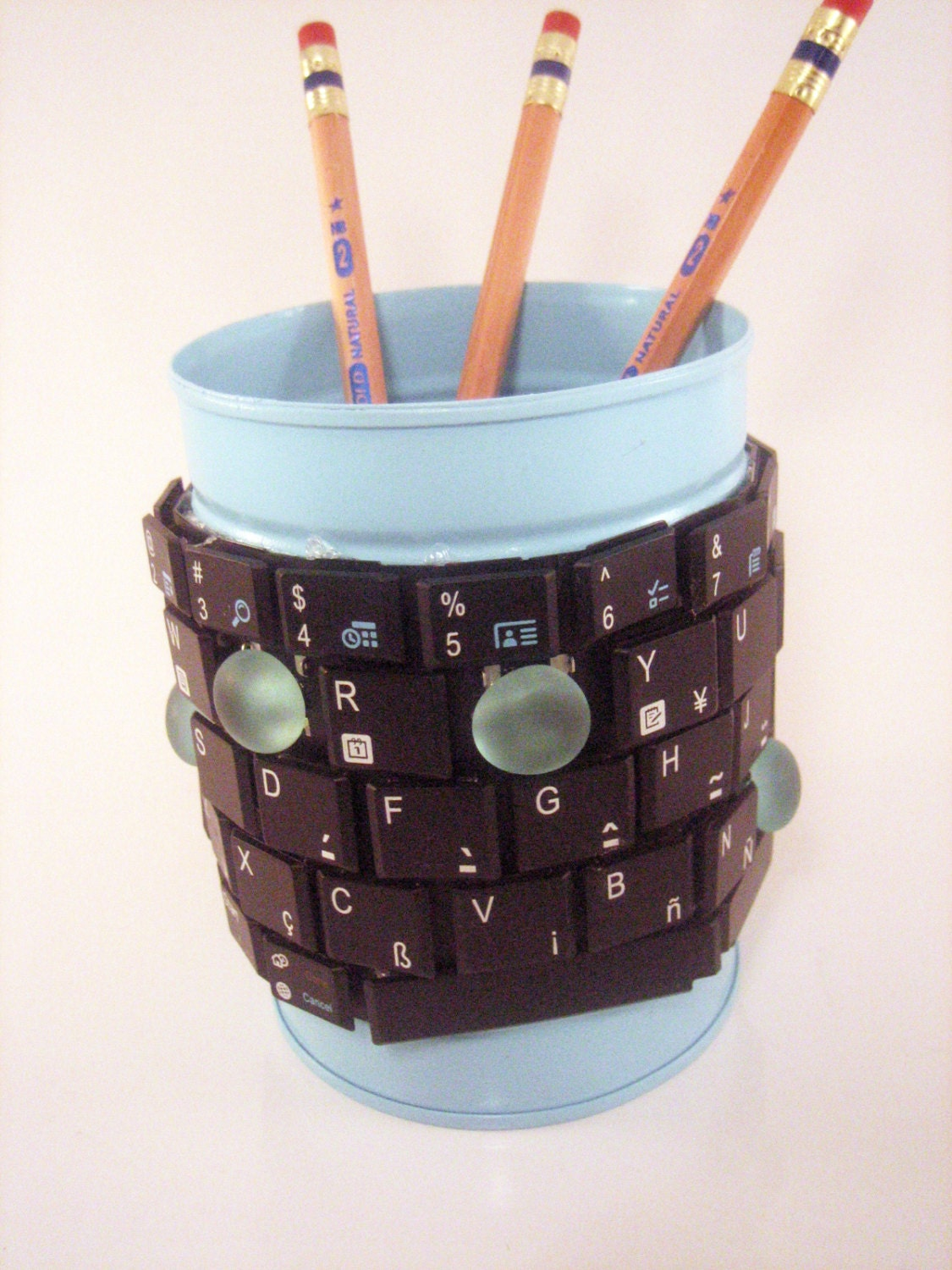 Techie pencil holder. Unique gift for men. Recycled upcycled