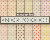 "Polka dots digital paper: ""VINTAGE POLKA DOTS"" with polka dots backgrounds in red, orange, yellow, green, pink, purple, grey, and black"