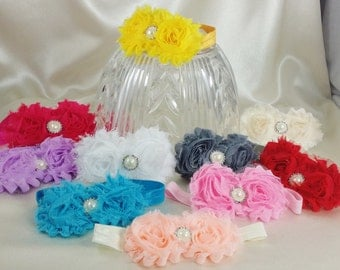 Shabby Chic Baby Rosette Headband--Choose One