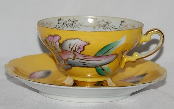 Trimont Hand Painted Yellow Tea Cup and Saucer - Made in Japan