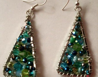Turquoise & Silver Wire Wrapped Earrings  MMJewelryCollection  We Ship Internationally