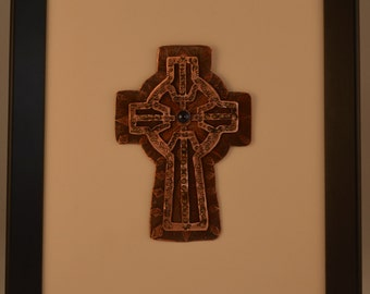 Southwest Sapphire Etched Cross Framed Wall Hanging