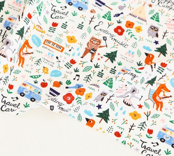 Pretty Camping Story Design 20s Cotton Fabric By Yard
