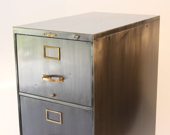 machine age brushed steel and brass file cabinet