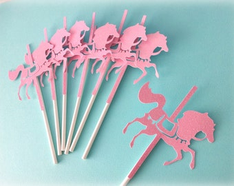Carousel Horse cupcake toppers, PINK glitter - Set of 12.