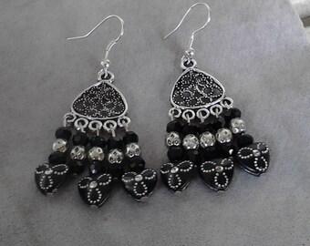 glass beaded earrings  silver beaded dangle earrings with black beads