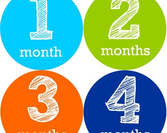 Baby Boy Month Stickers - The Tanner Design- Baby Stickers Baby Milestone Stickers, 12 Month Stickers, Monthly Stickers