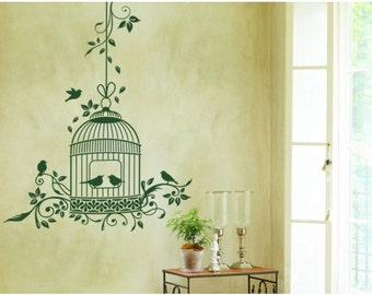Romantic Bird Cage wall decal, sticker, mural, vinyl wall art