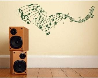 Music Staff wall decal, sticker, mural, vinyl wall art