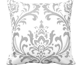 7 Sizes Available: Pillow Cover Throw Pillow Decorative Pillow Grey Pillow Gray Pillow Damask Pillow Sofa Pillow Grey Home Decor Gray Decor