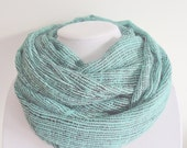 Sea Green Infinity Scarf. Women's Printed Fashion Scarf. Modern Trendy Scarves. Spring Fashion. Summer Fashion. 2014 Trends.
