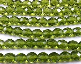 Olivine Faceted Round Fire Polish Czech Glass Beads, 6mm - 25pcs