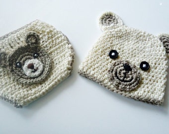 Teddy Bear set, Baby Hat, Crochet Baby Hat, Crochet Beanie Hat with Ears  ,  Teddy Bear Hat ,  MADE TO ORDER