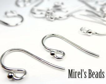 Sterling Silver Earring Hooks, 925 Earwires, 12 pairs, 18mm