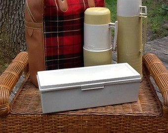 Tartan Plaid Picnic Tote,Vtg. 1960's / 70's with Thermos and Containers